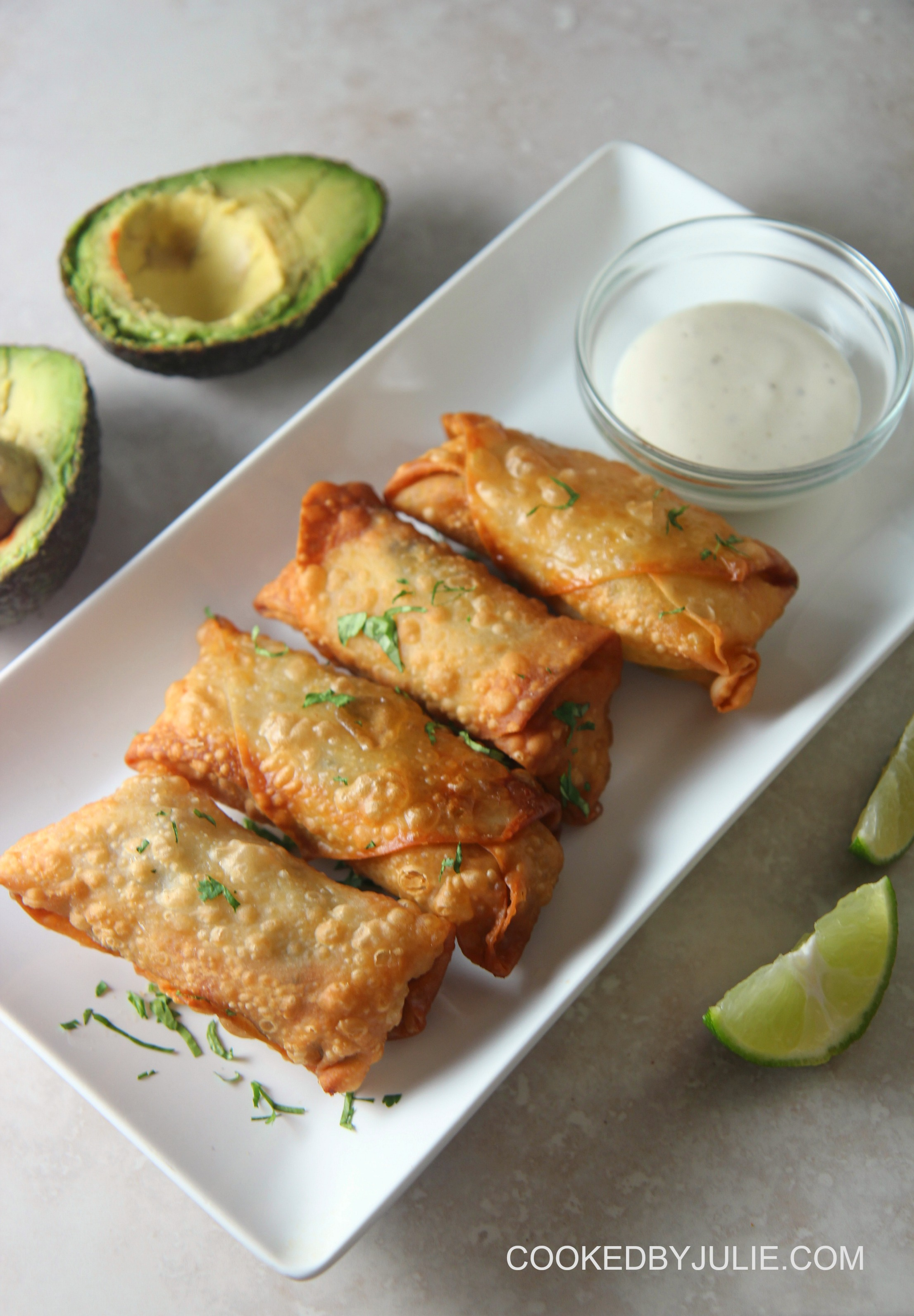 These chicken avocado egg rolls make for the perfect appetizer or game-day finger food.