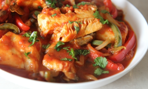 Skillet Cod with Tomatoes, Onions, and Peppers
