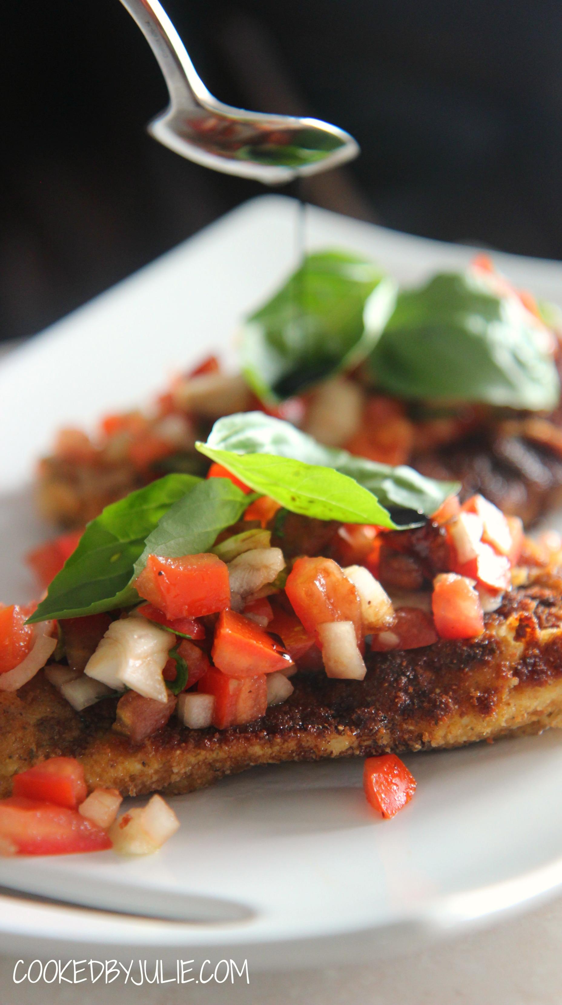 Chicken Bruschetta with tomatoes, onions, mozzarella cheese and basil.