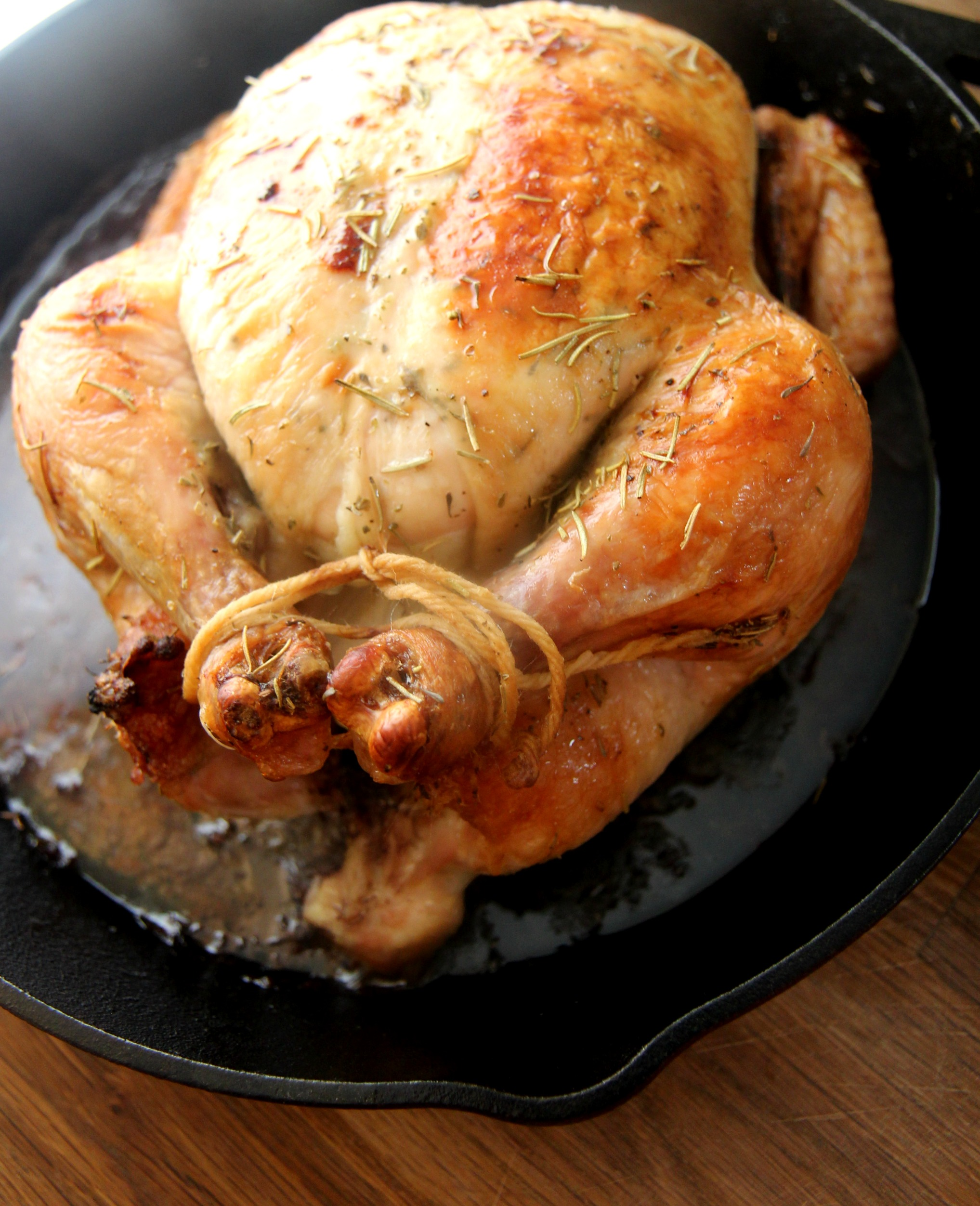 This juicy roasted chicken is smothered in herb butter and roasted to perfection