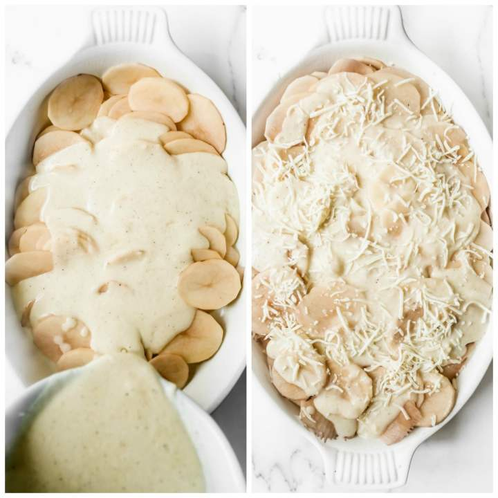 photo collage with two photos. One photo showing sliced potatoes in a casserole dish with sauce on top. Another photo showing sliced potatoes with sauce and cheese.