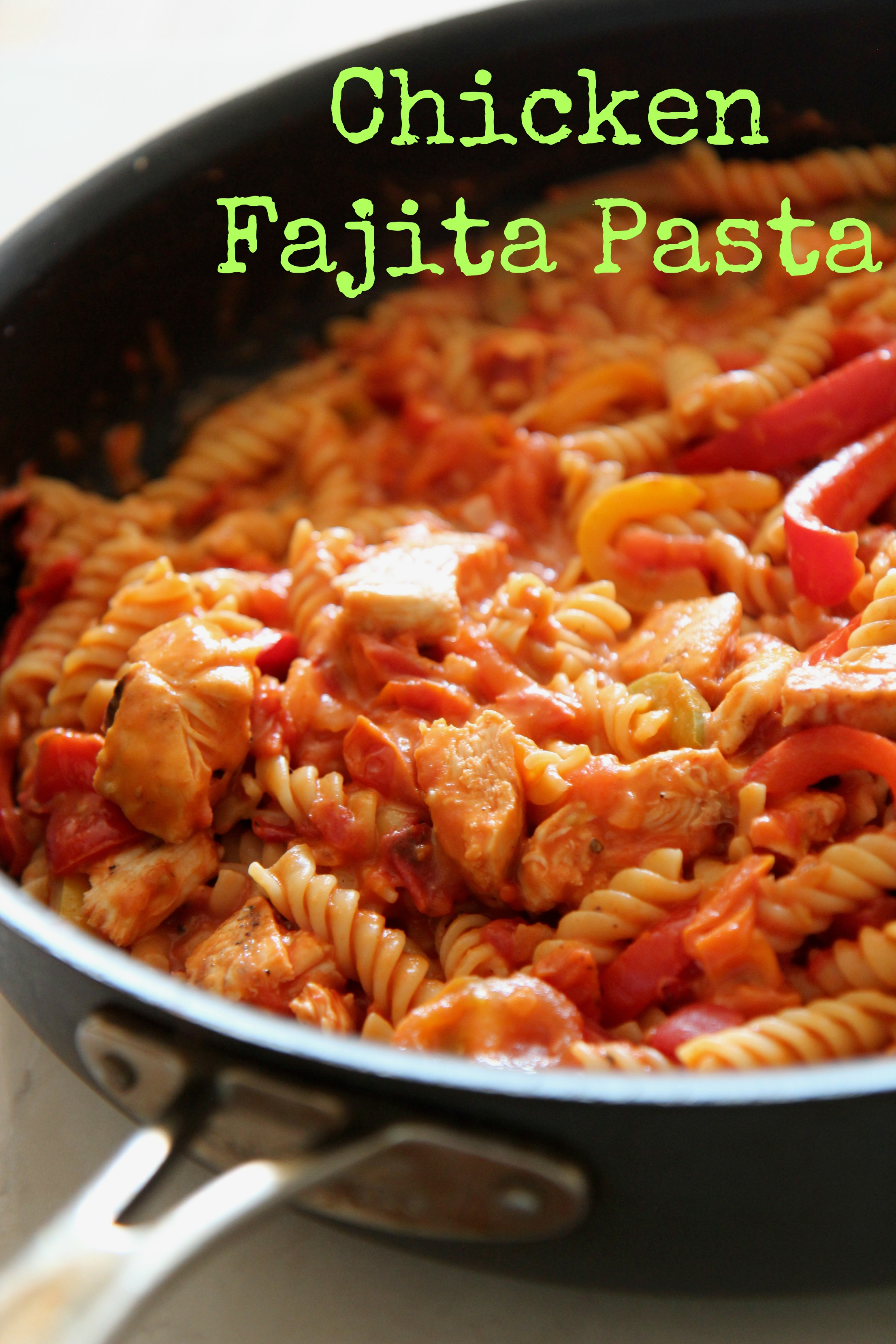 Toss together this easy chicken fajita pasta dish for a fast one-pot meal that everyone will love!