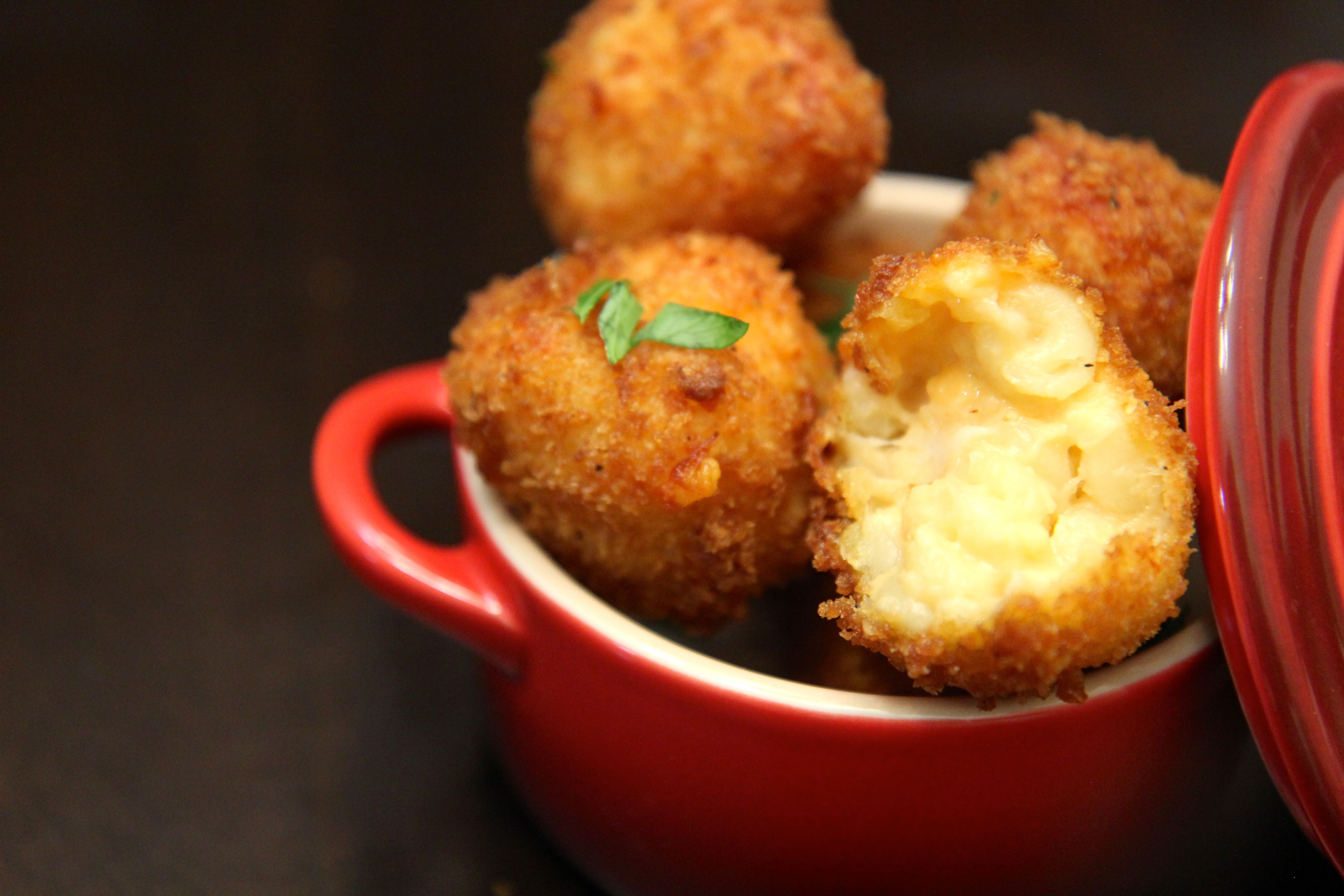 Crispy fried mac and cheese balls.