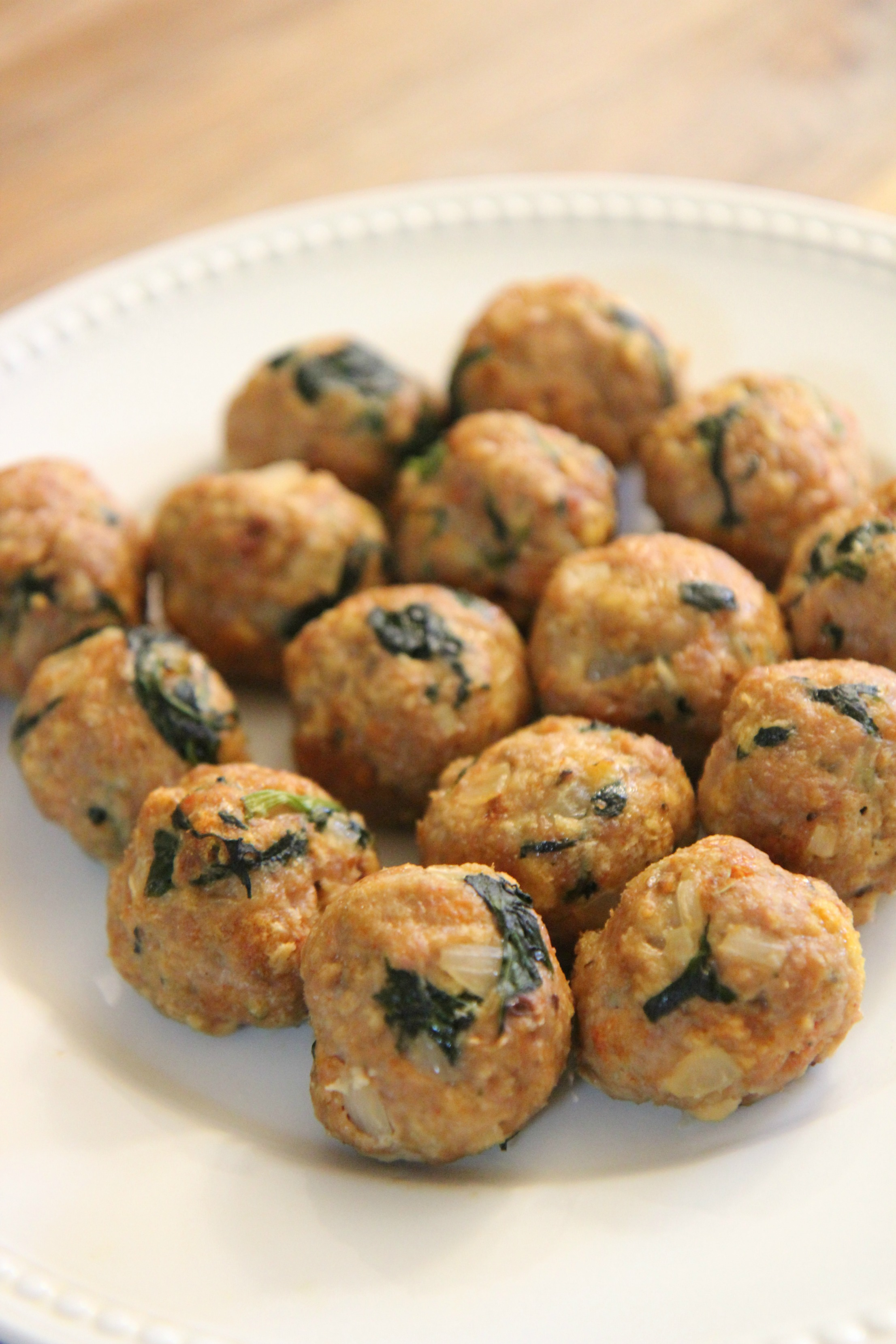 These spinach and turkey meatballs are moist and packed with spices and onions