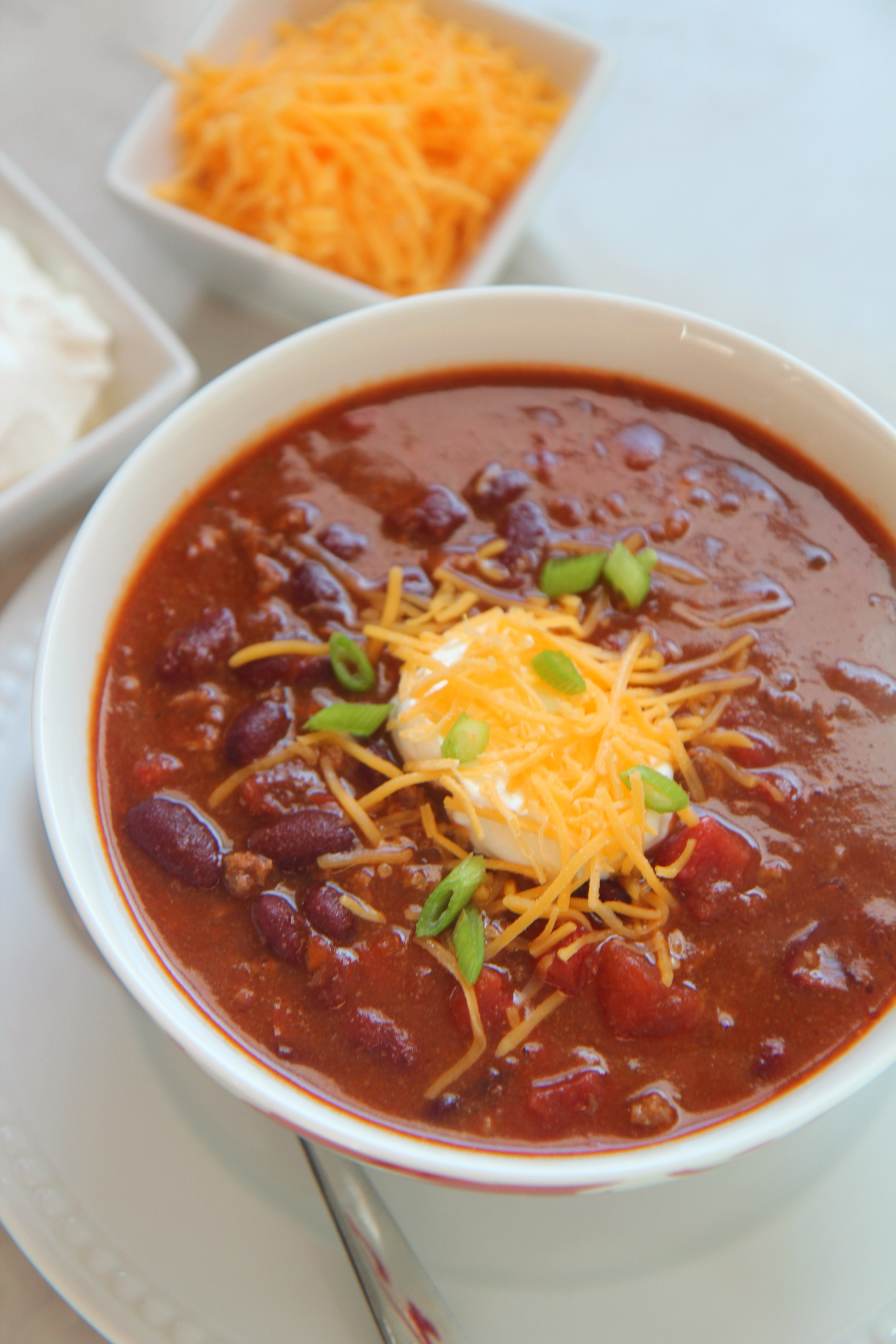 A soothing warm cup of chili is a great way warm up after a long day