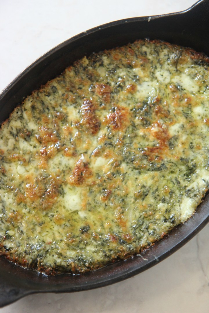 Bake the creamed spinach dip for a crispy, cheesy crust that's perfectly party ready.