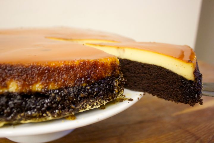 This chocolate cake meets flan is a great recipe to have and is the best of both worlds.