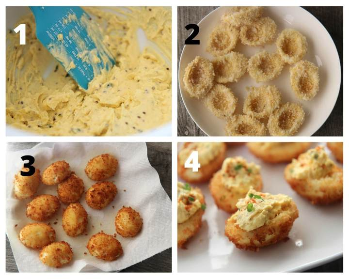 a collage with four photos. Deviled egg filling, fried egg whites, and fried deviled eggs filled with the yolk mixture.