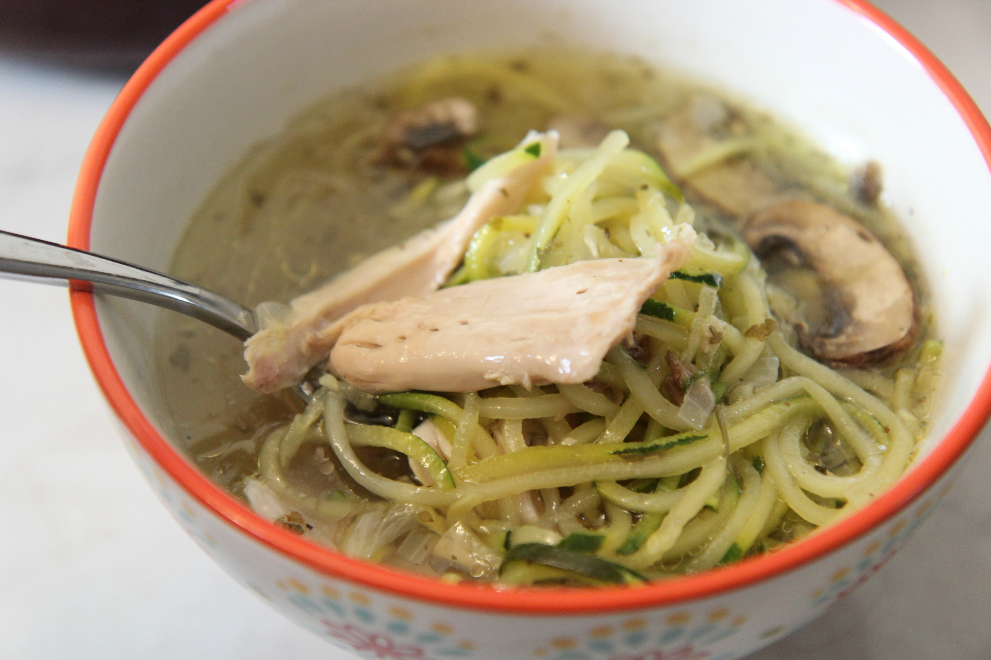 Chicken zoodle soup is the perfect healthy version of classic chicken noodle soup