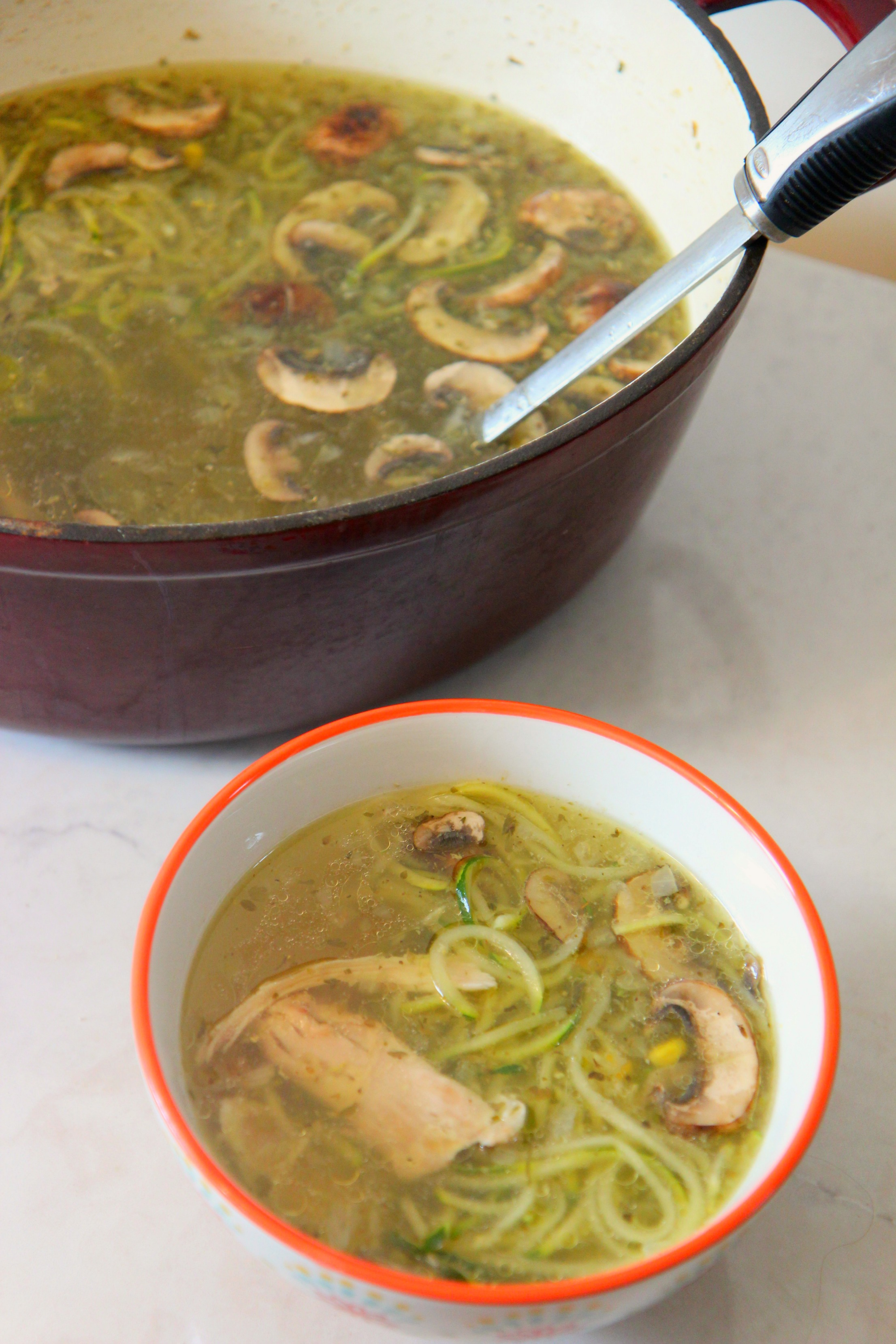 Chicken Zoodle Soup made with tender zucchini noodles, moist chicken, mushrooms and seasonings