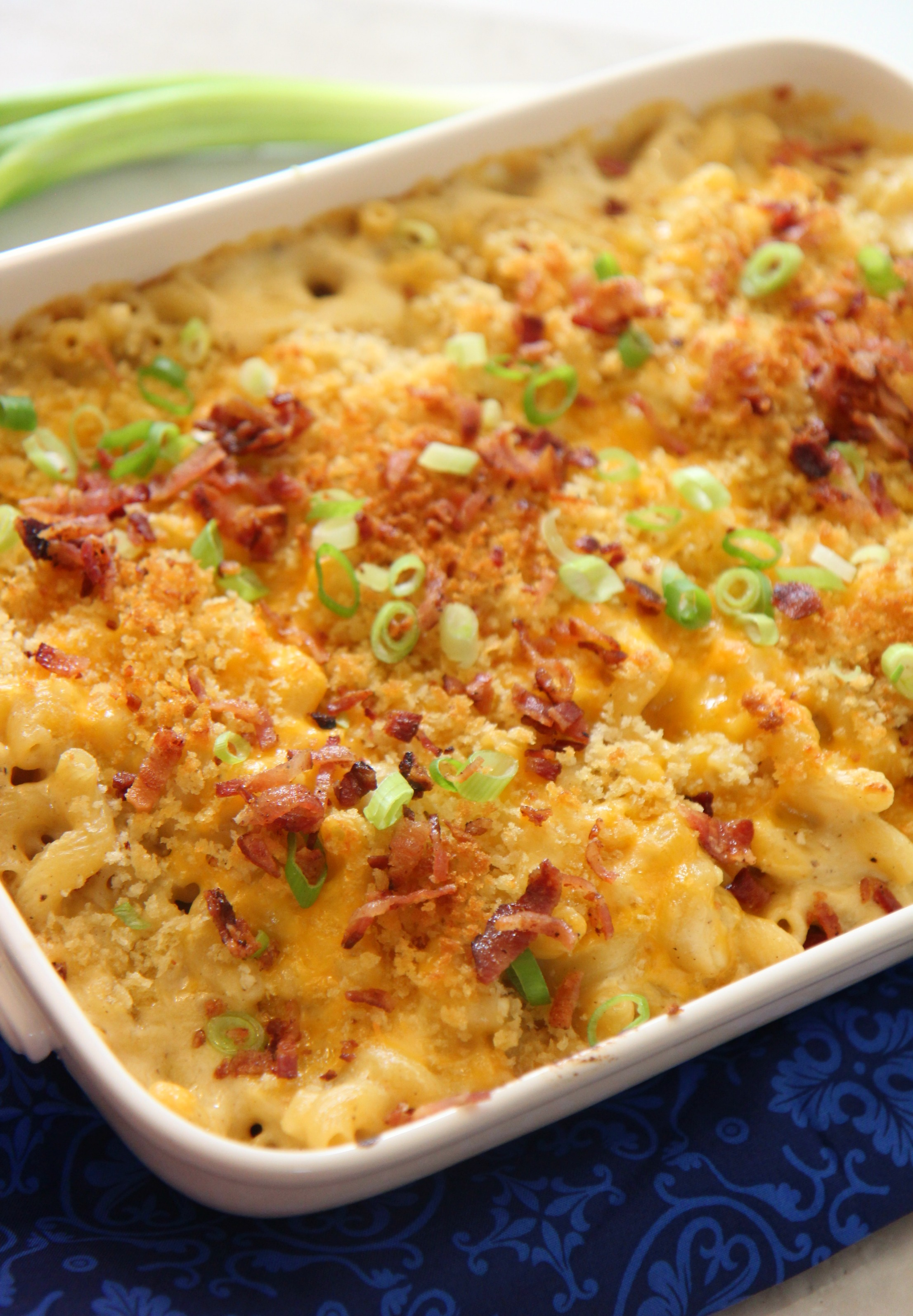 This mac and cheese is exploding with flavor from the bacon cooked through the cheese sauce.