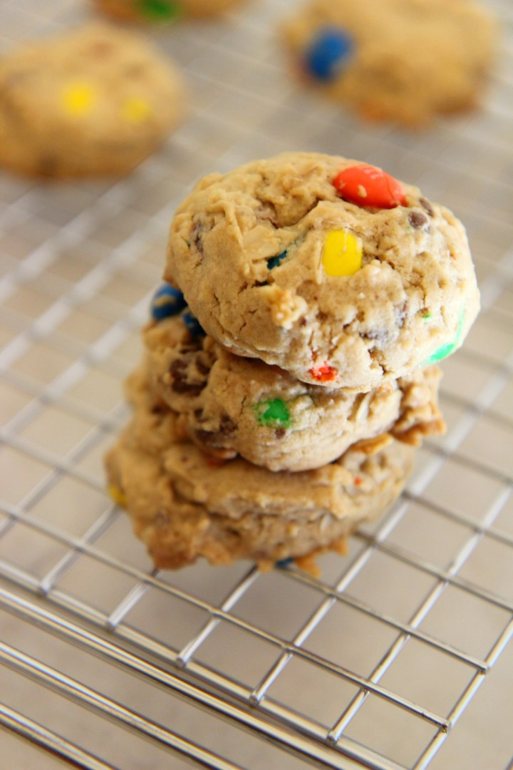 These monster cookies are packed with chocolate candies, oats, and mini chocolate chips for a sweet soft baked cookie