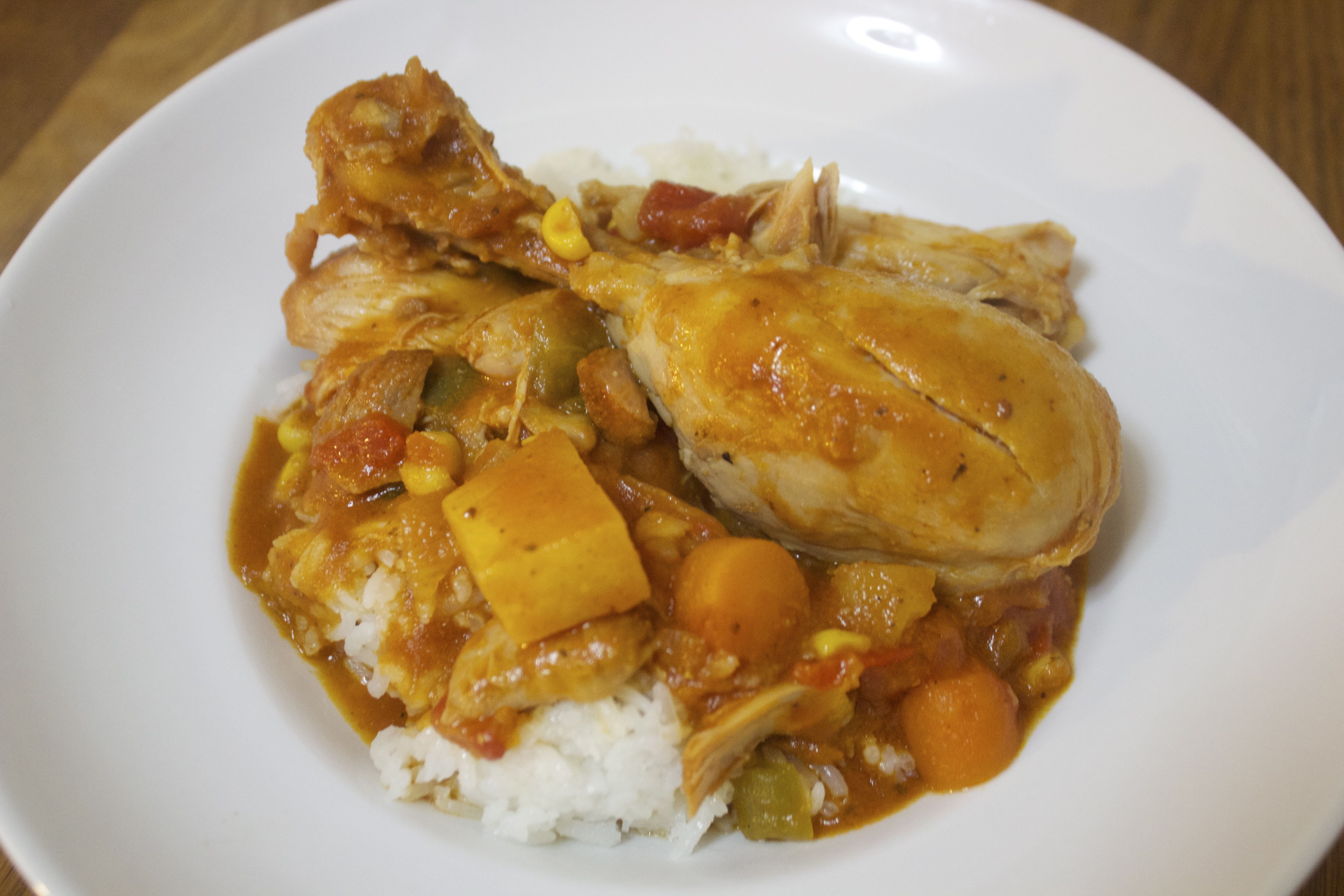 Spicy Chicken Stew with Veggies and Rice