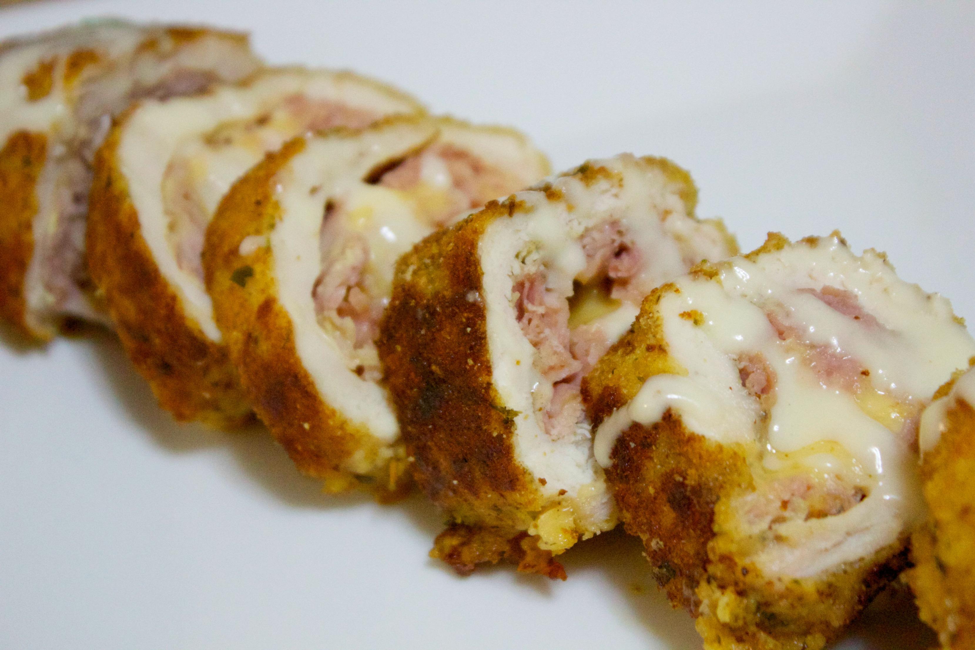 Chicken Cordon Bleu with honey ham and gouda cheese.
