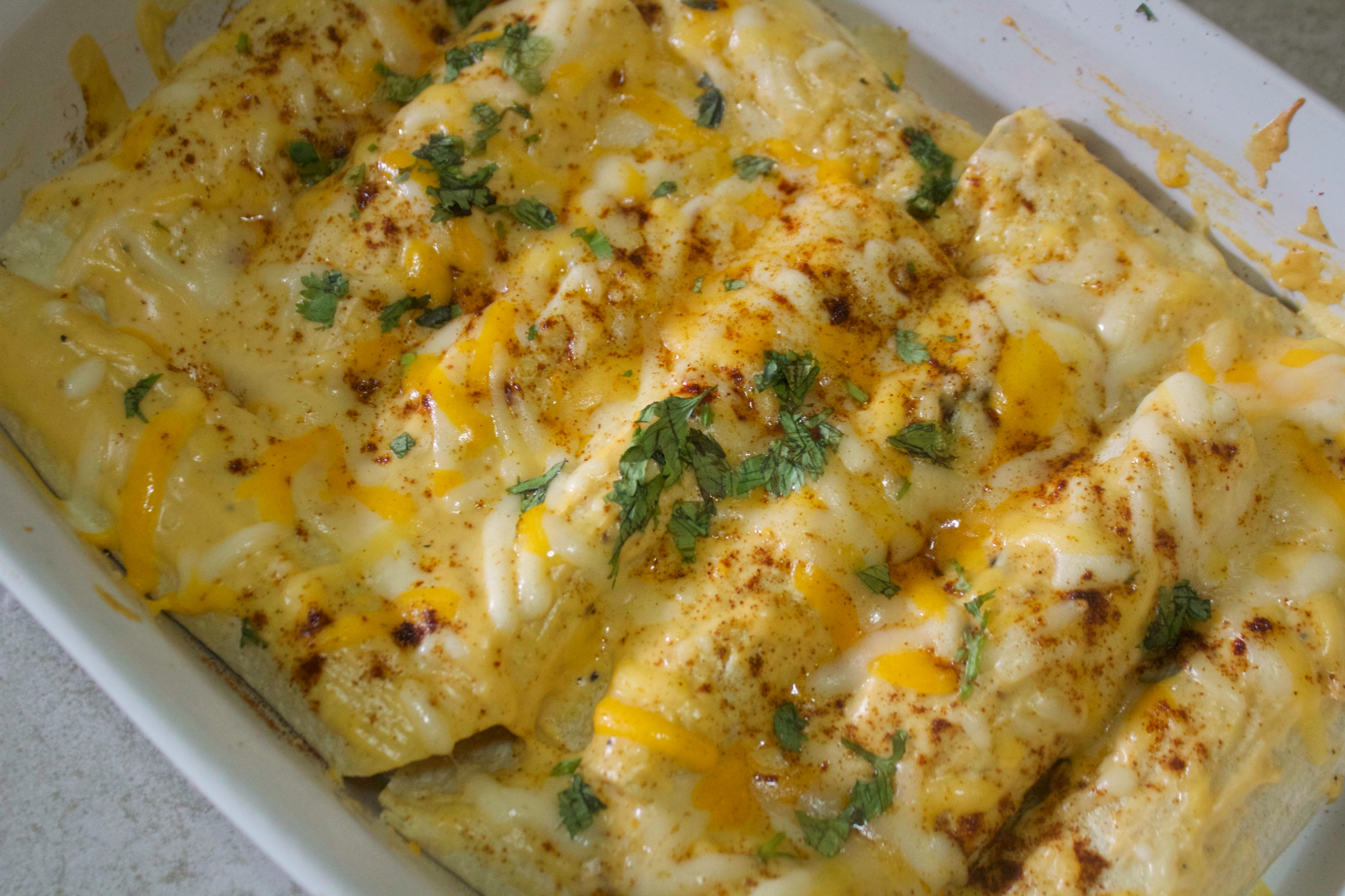 Seafood enchiladas break up the monotony of the week with a slightly sweet treat.
