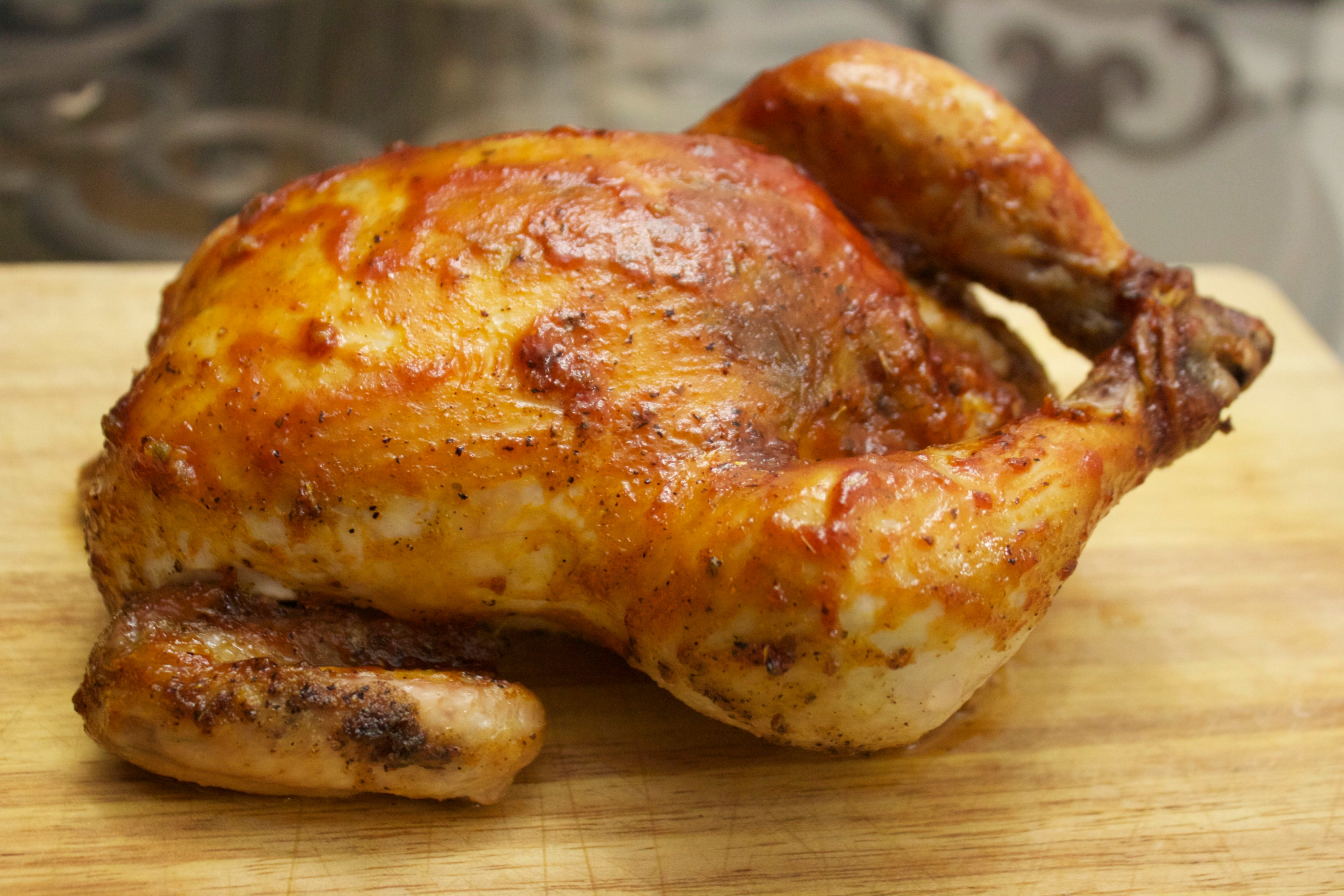 Roasted chicken brushed with a homemade barbecue sauce