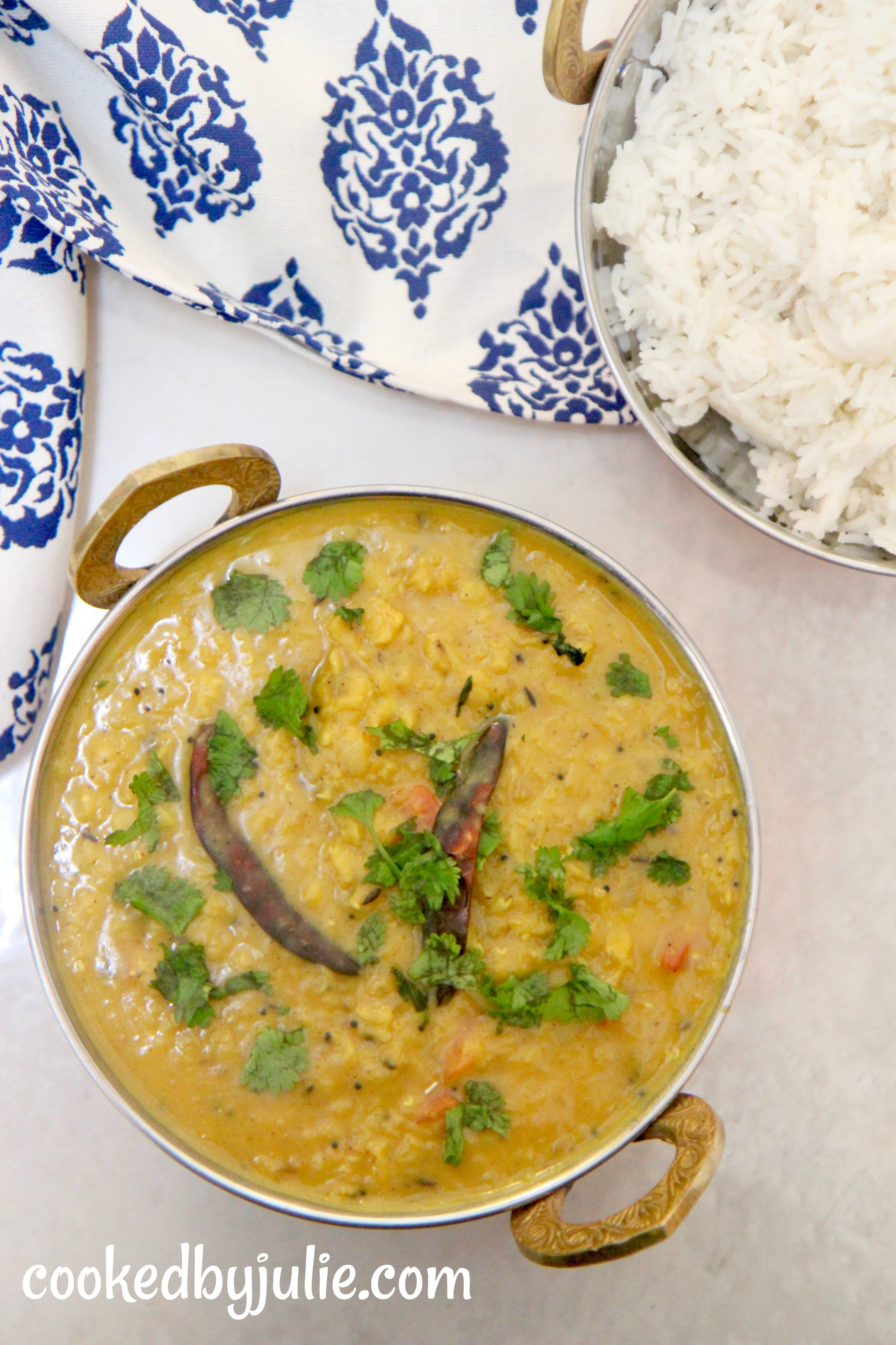Indian spiced dal with a side of fluffy white basmati rice