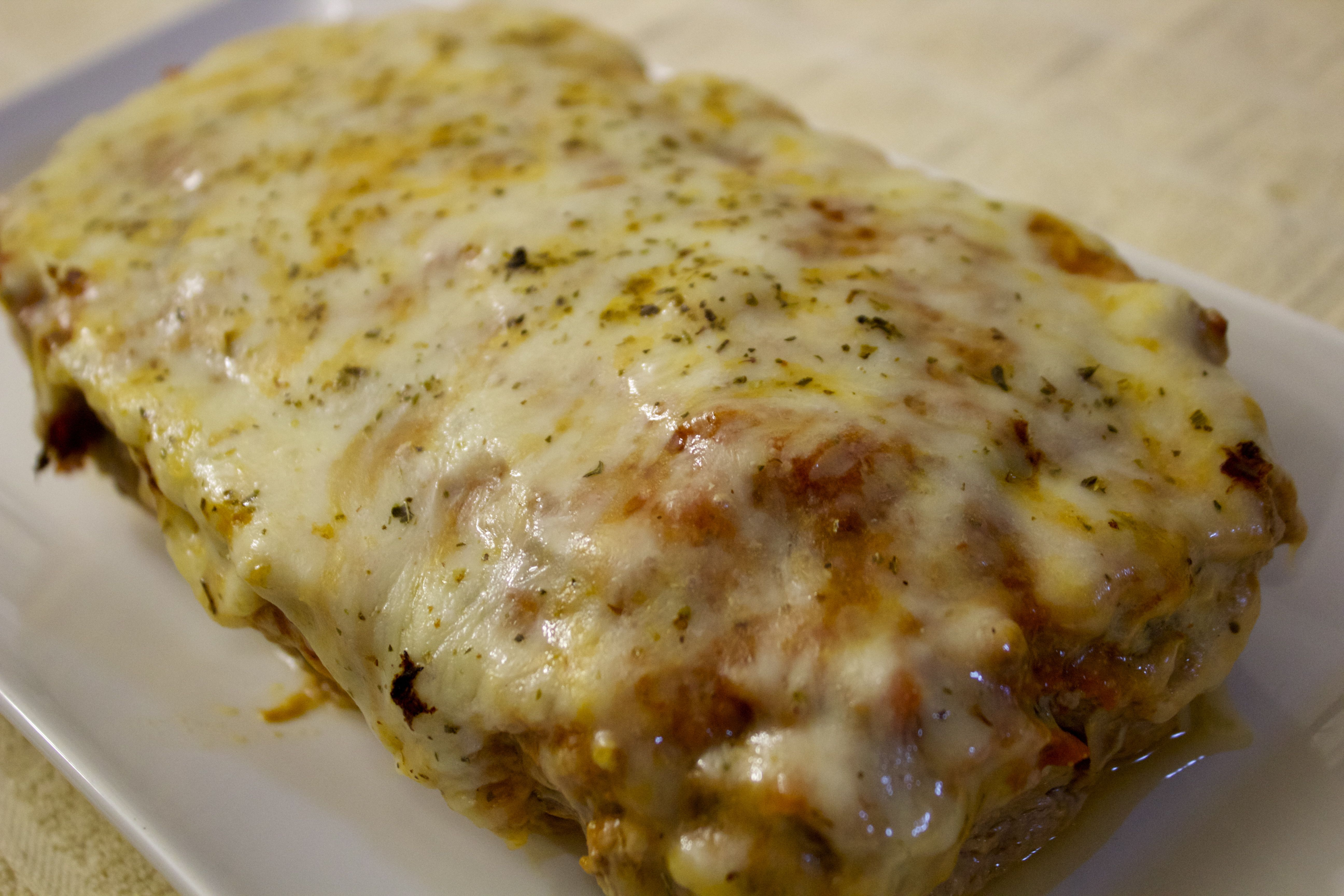 Cheesy and tender meatloaf parmesan.