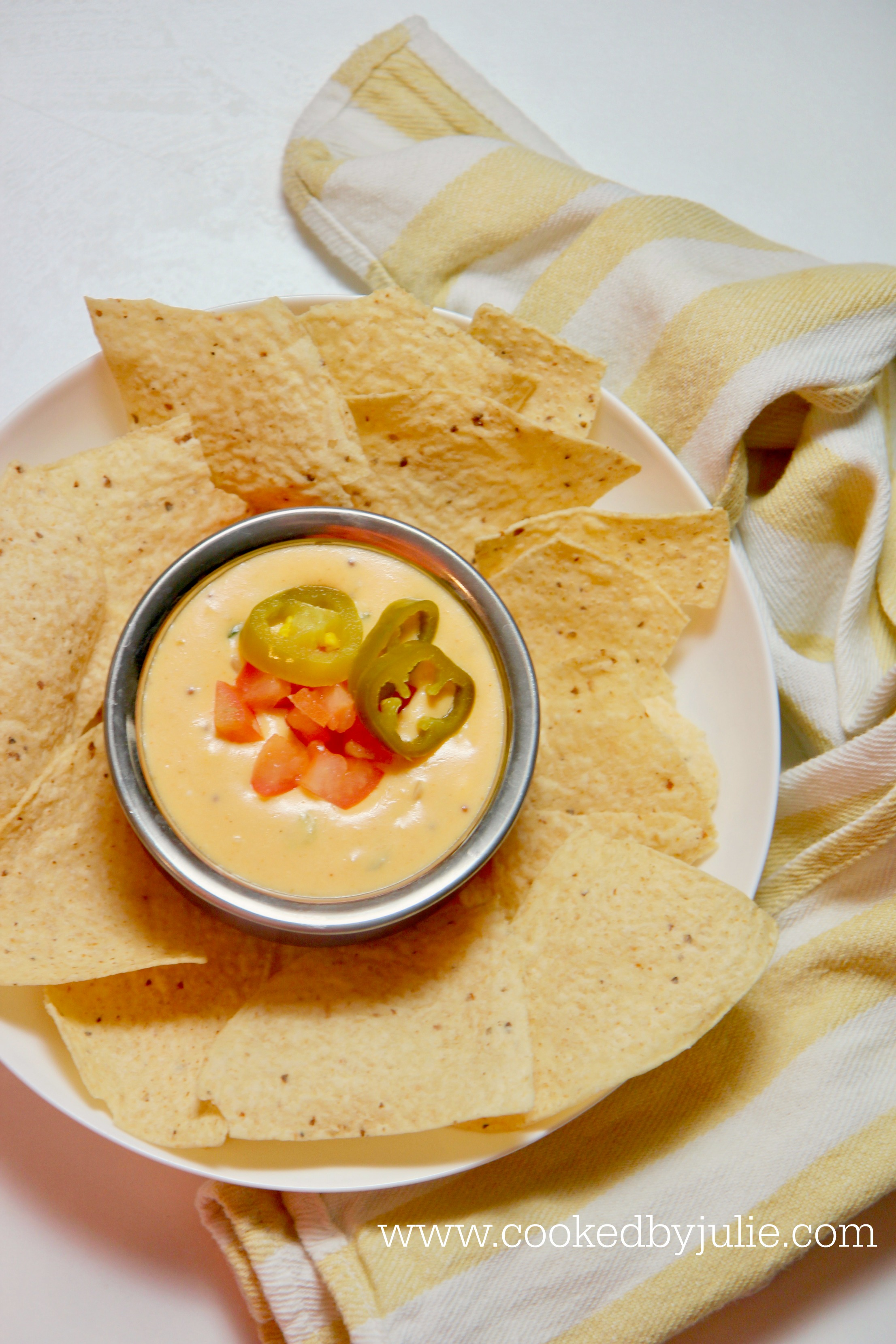 Creamy and cheesy queso dip made with real cheese