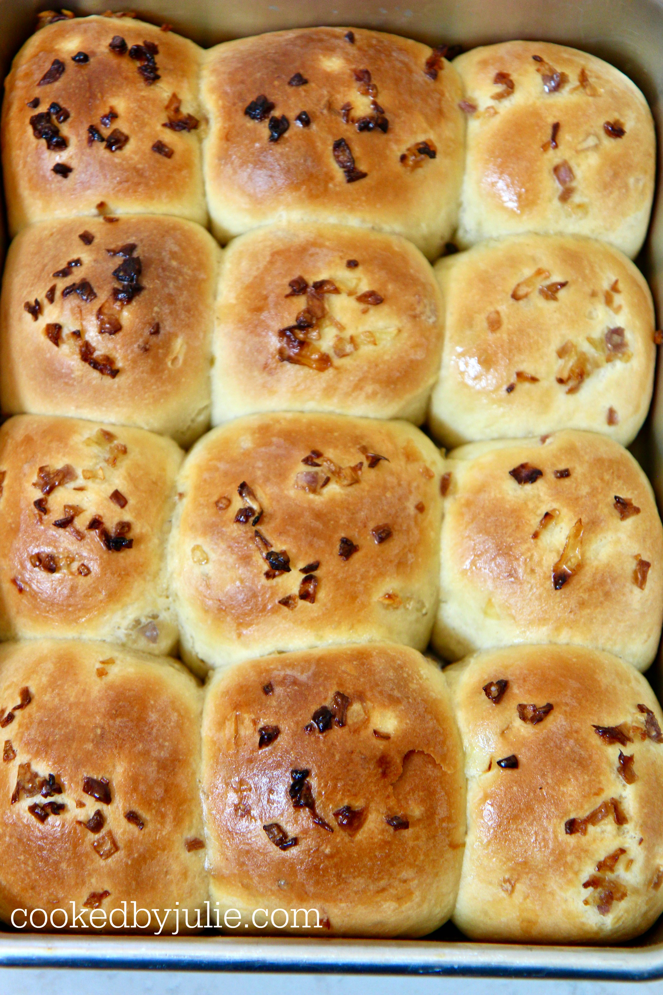 Delicious. buttery soft baked onion rolls.