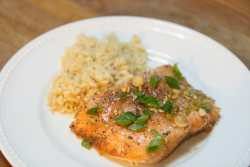 honey glazed salmon with garlic and scallions