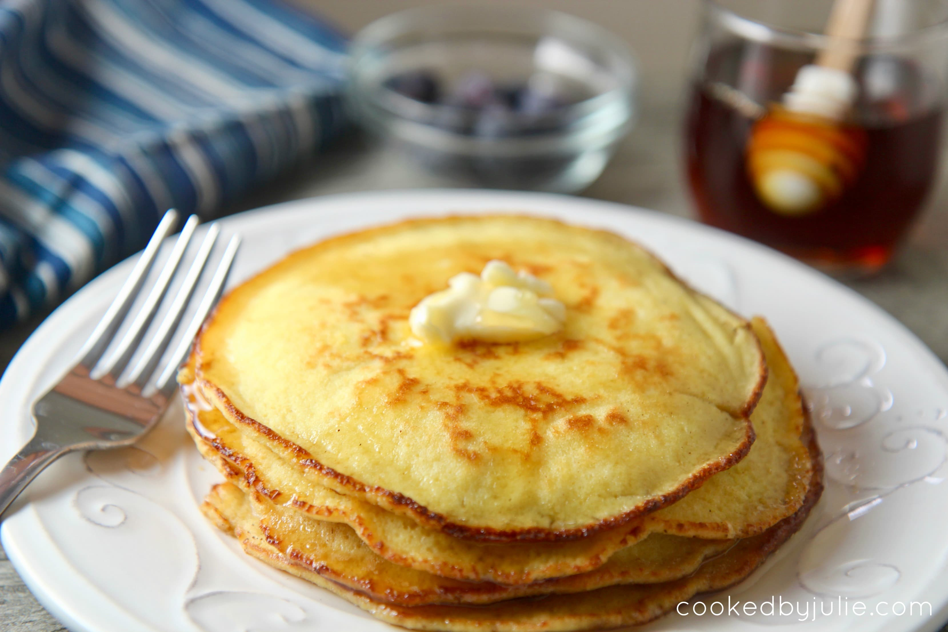 Easy 10-minute keto pancakes with syrup and butter.