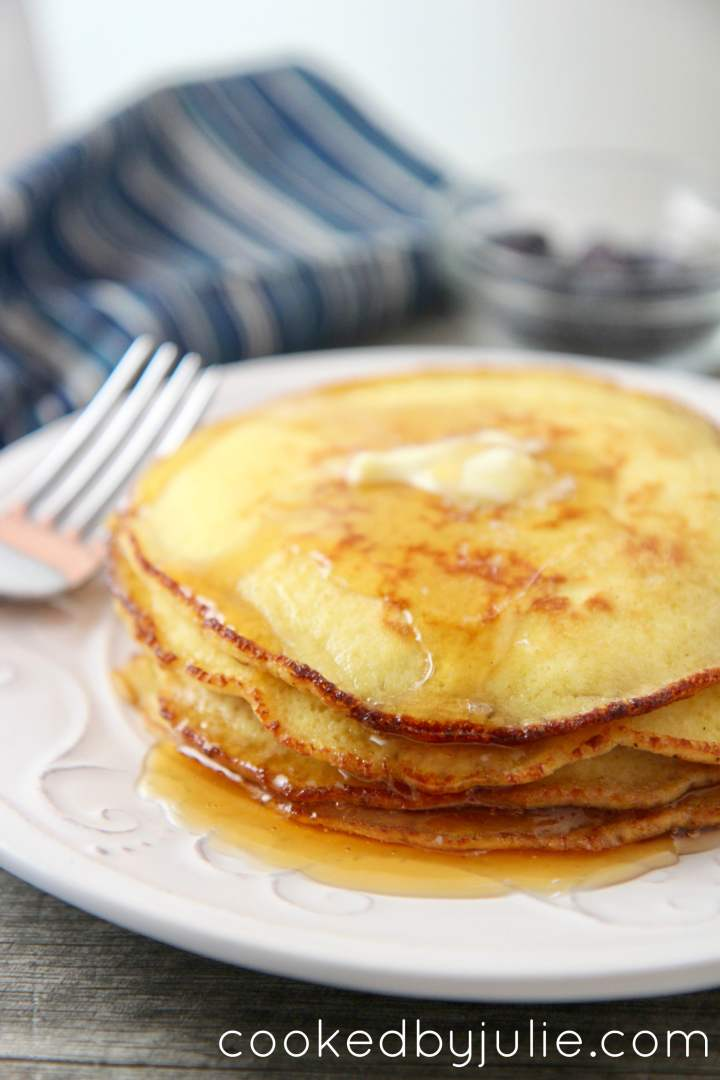 These keto-friendly pancakes are low carb, but just as delicious as regular pancakes. Drizzle with some syrup and butter for simple breakfast.