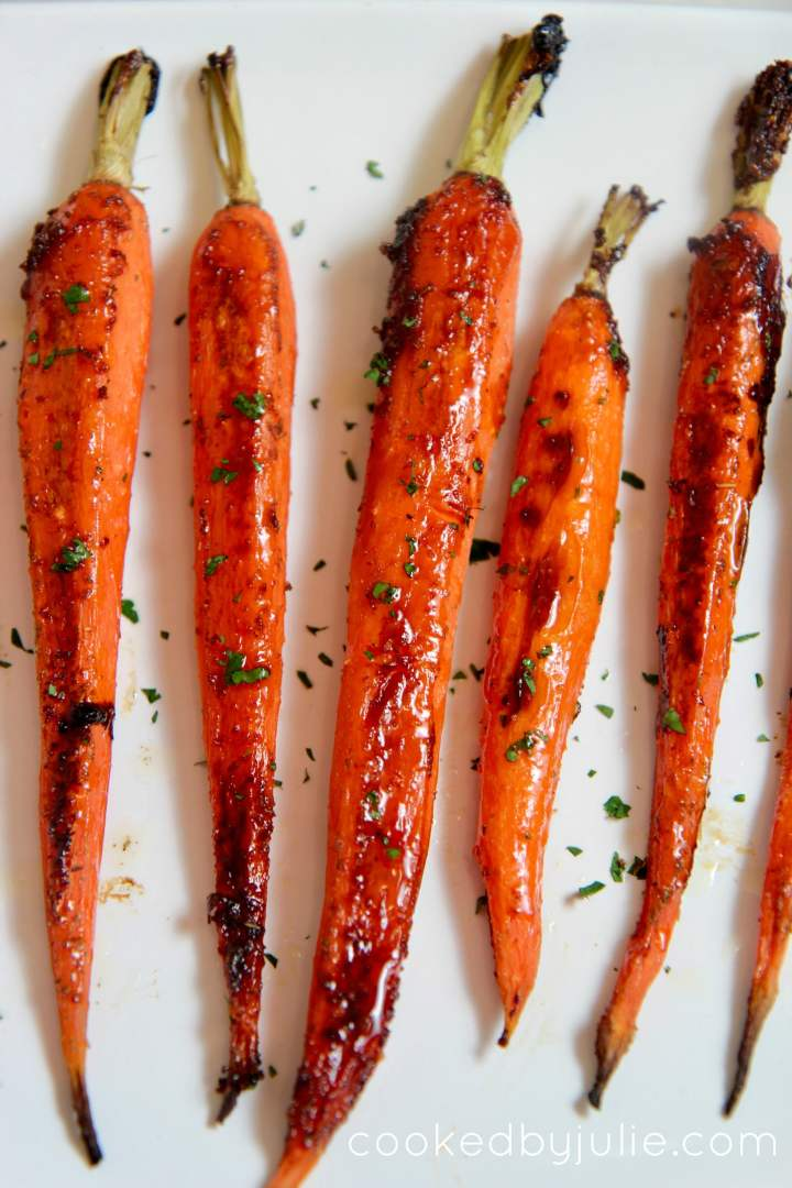 roasted honey glazed carrots garnished with fresh parsley