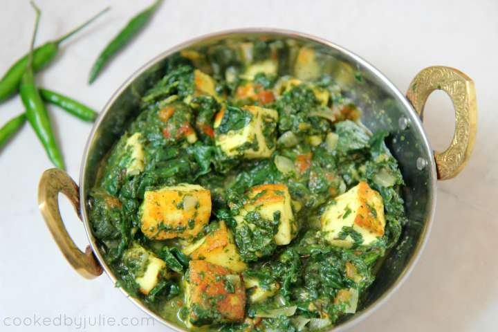horizontal photo of saag paneer in a small bowl