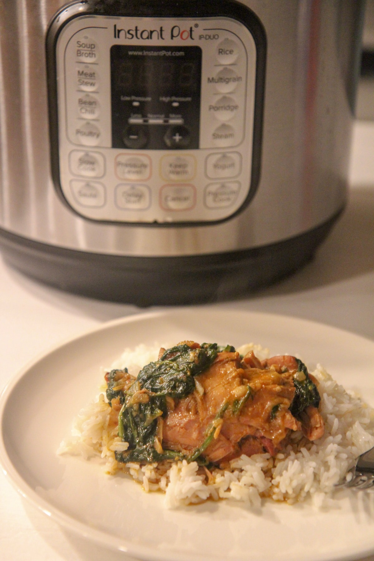 chicken curry over white rice on a white plate and an instant pot in the background.
