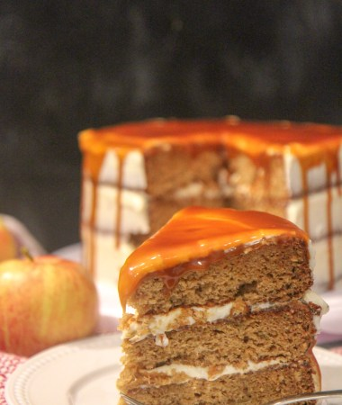 salted caramel apple cake slice