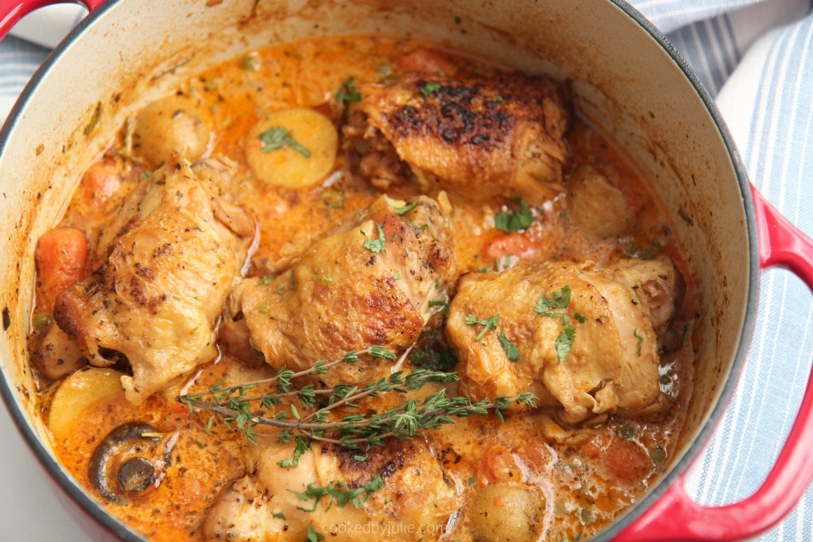 chicken stew with potatoes and carrots close up