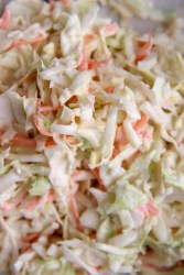 a closeup of coleslaw in a bowl