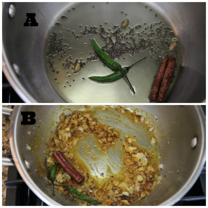 a collage of shrimp curry cooking steps