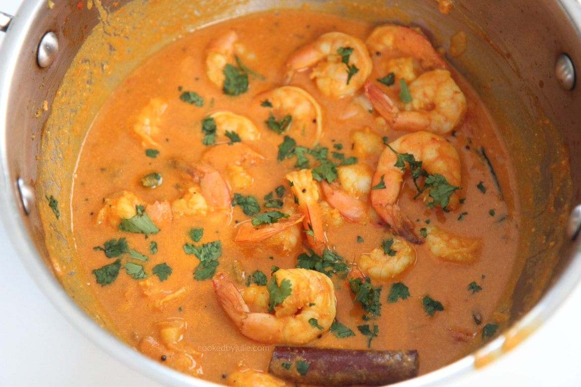shrimp curry with cilantro in a pot