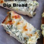 slices of spinach dip bread on a gray baking sheet