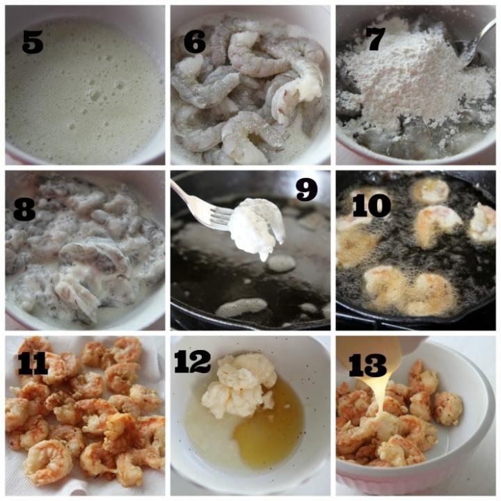 honey walnut shrimp cooking process collage
