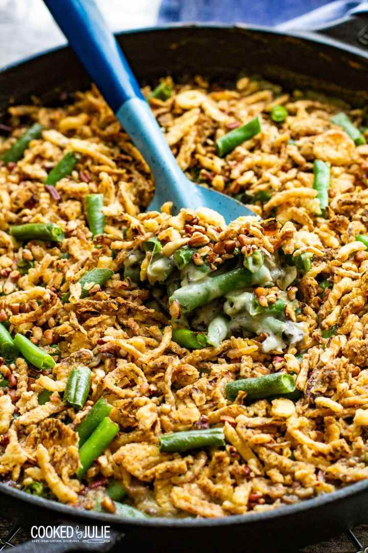 a spoonful of green beans and fried onions