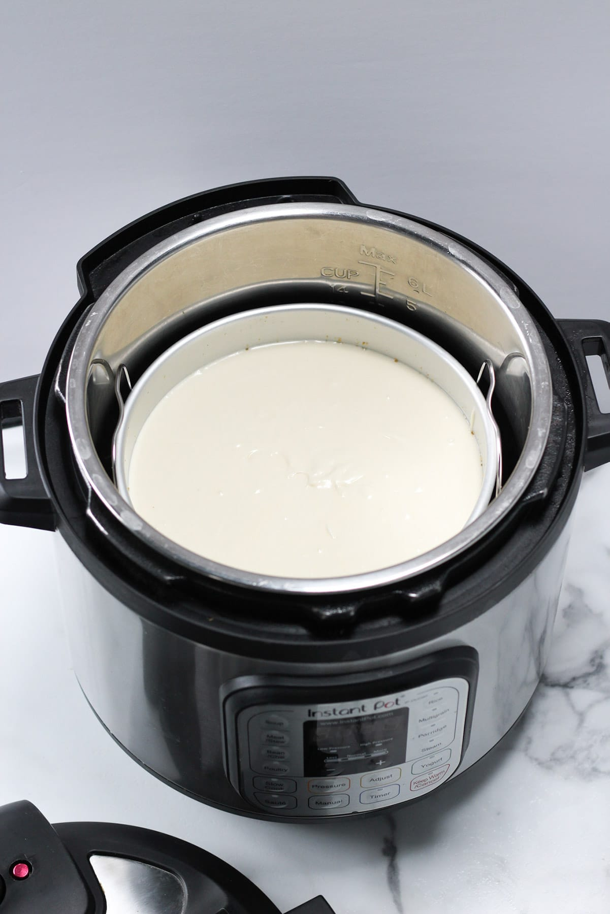 cheesecake batter inside of an instant pot