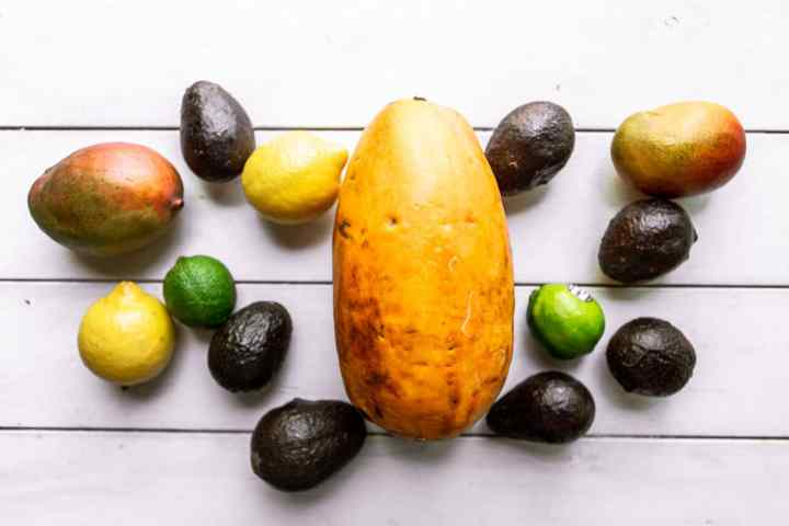 papaya, mangoes, avocados, lemons, and limes on a white surface.