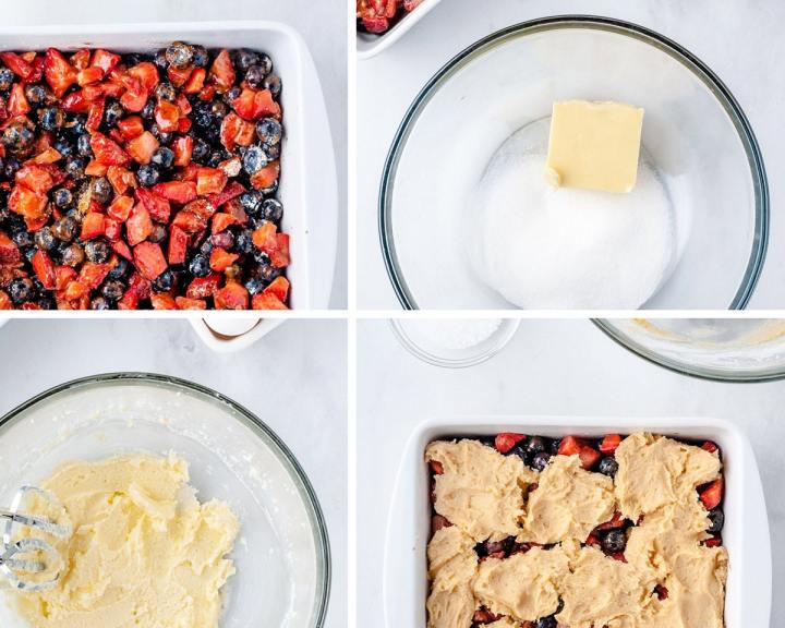 a collage with four photos. One ohoto showing berries in a baking dish, one photo showing butter and sugar in a clear bowl, a clear bowl with creamed butter and sugar, and a baking dish filled with berries and flour mixture on top.