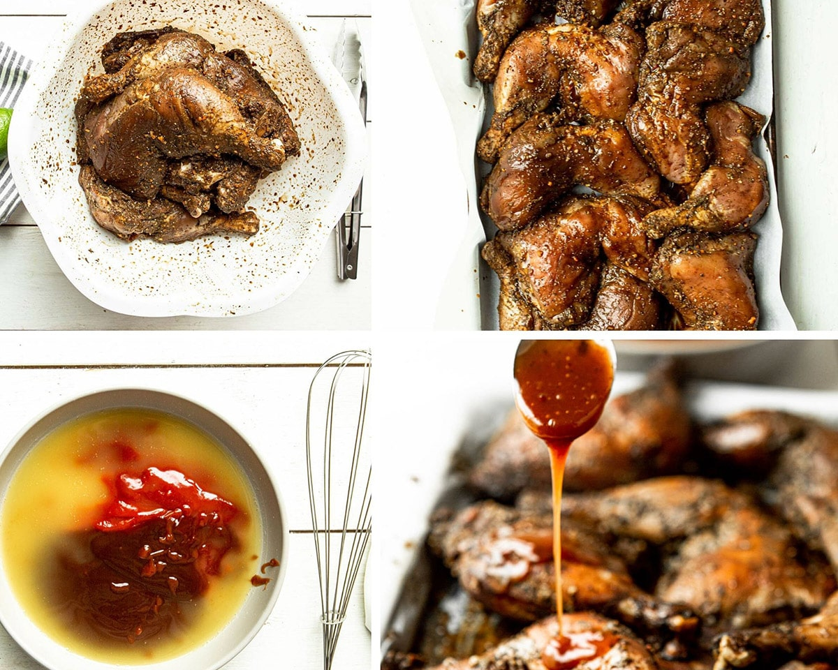a photo collage with four photos. Seasoned chicken in a white bowl, seasoned chicken on a baking sheet, sauce ingredients in a bowl with a whisk on the side, sauce drizzling over cooked chicken.