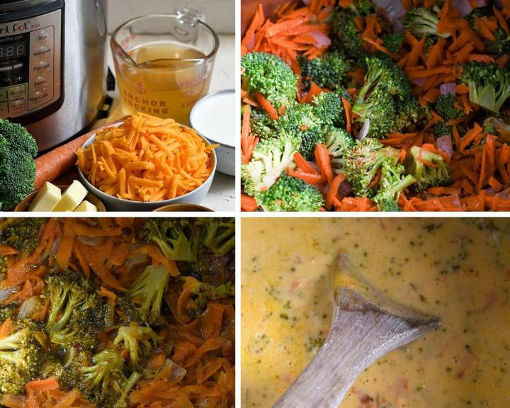 A collage with four photos. One photo showing an instant pot with ingredients on the side. Broccoli and carrots inside the pot, and broccoli cheddar soup cooking in the instant pot.