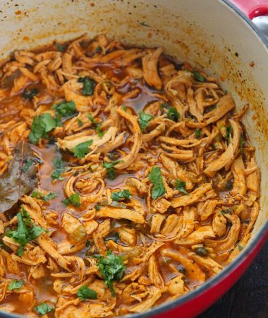 latin shredded chicken stew with cilantro on top in a red dutch oven.