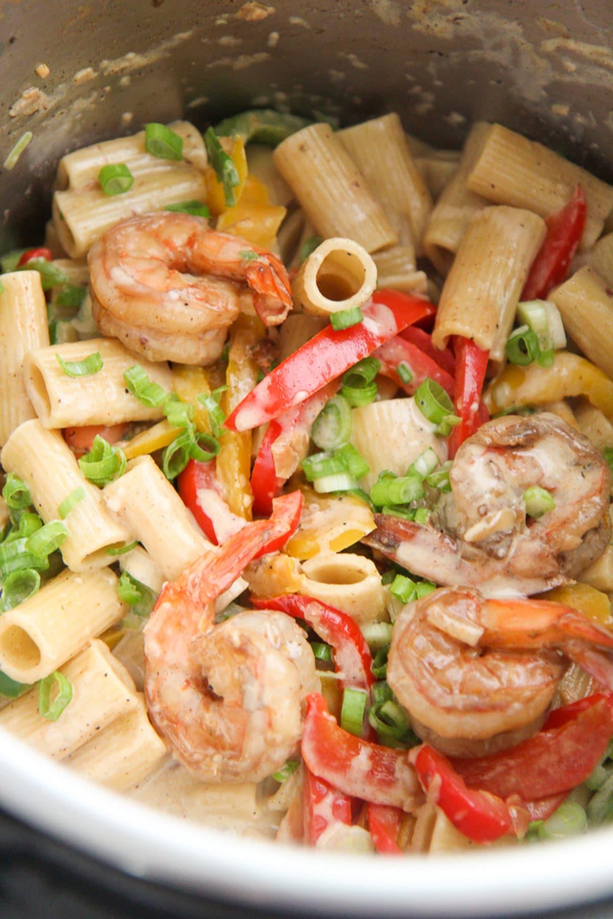 rasta pasta with shrimp in the instant pot.