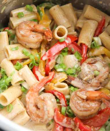 rasta pasta with shrimp in the instant pot.