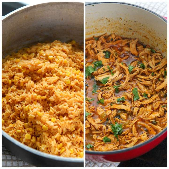 a collage with two photos showing a pot of yellow rice and a pot of shredded chicken.
