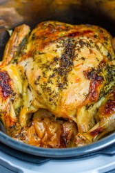 cooked whole chicken in the instant pot up close.
