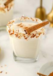 coquito in a short glass with toasted coconut on the rim and a cinnamon stick on top.