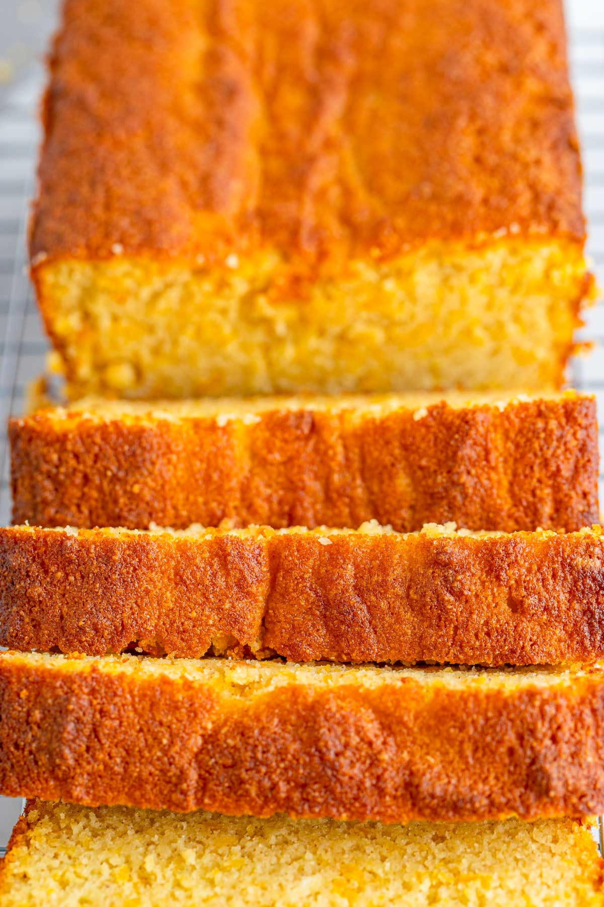 sliced sweet potato bread up close.